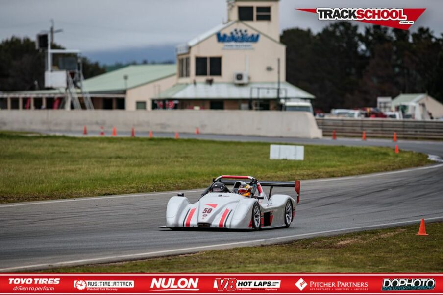 Trackschool Radical SR3 on the track at Wakefield Park